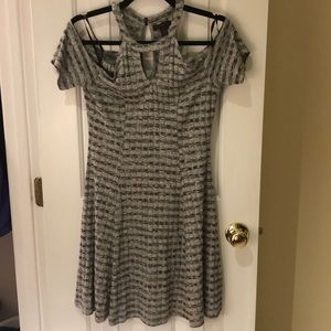 Material Girl grey gray dress w/ cold shoulder